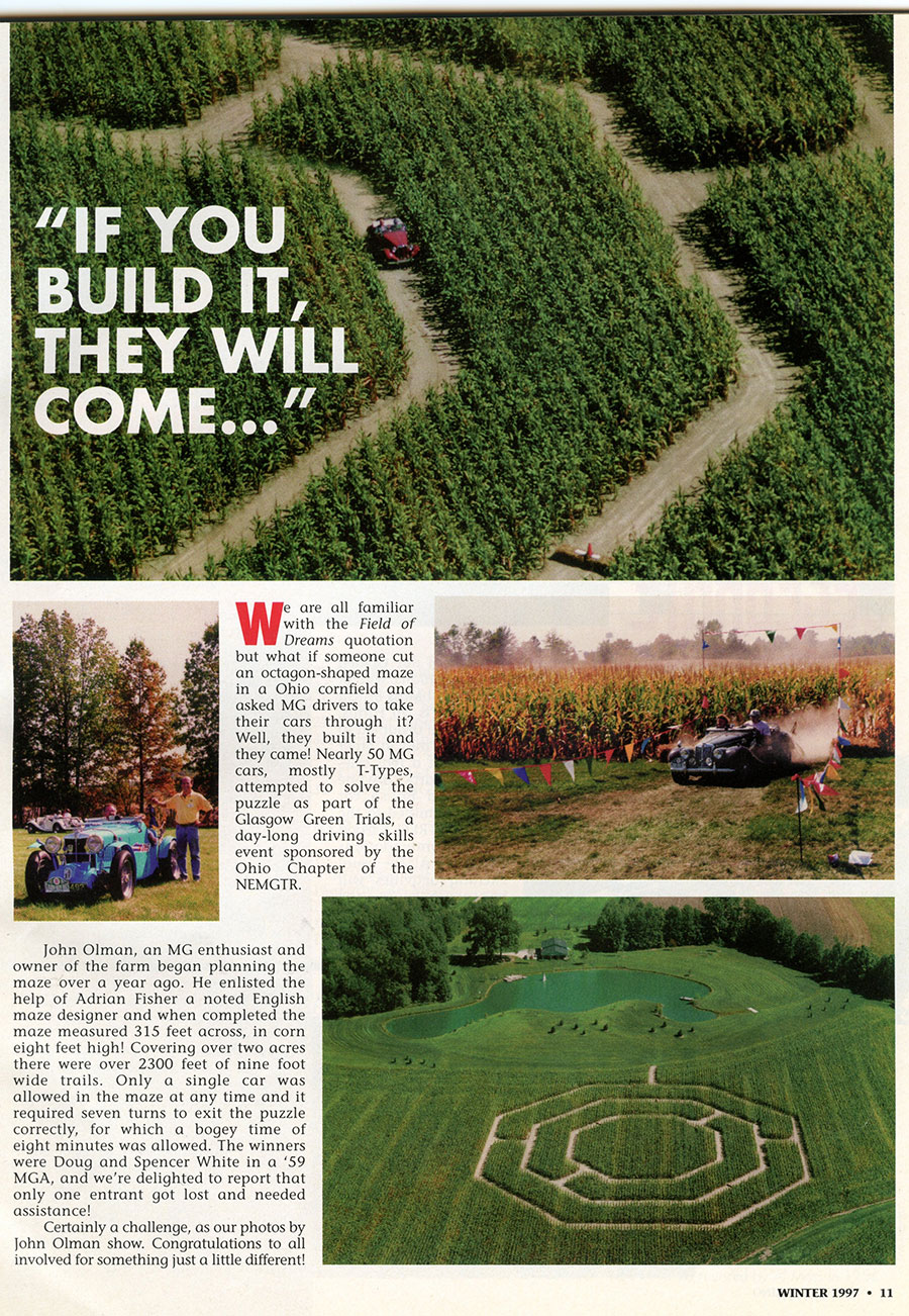 1997 story about the Glasgow Green Trials, an all-day funkhana held near Cincinnati for the Ohio Chapter of the New England MGT register.